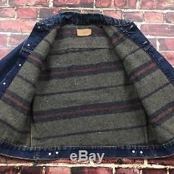 Vintage Levis Big E Denim Jacket 60s Jean Trucker Mens S/M Troy Wool Lined
