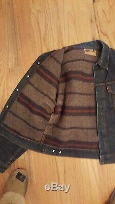 Vintage Levis Big E Type III Blanket Lined Trucker Indigo Denim Jacket Button