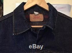 Vintage Levis Big E Type III Blanket Lined Trucker Indigo Denim Jeans Jacket
