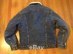 Vintage Levis Sherpa Lined Denim Jean Jacket Mens 38R Blue Stonewash USA Trucker