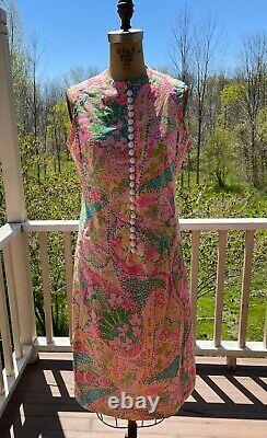 Vintage Lilly Pulitzer THE LILLY 22 White Buttons Floral Print Lined Dress