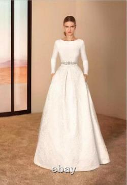 Vintage Long Sleeve A Line Lace Satin Wedding Dress White/Ivory New Bridal Gown