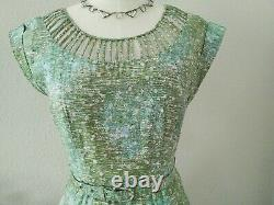 Vintage M/L 50s Slimmaker Cotton Dress, Princess Seam A-Line Mid-Century Retro