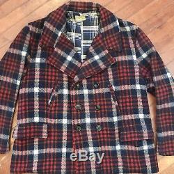 Vintage Mackinaw Wool Coat 40s Mens XL Flannel Lined 1940s JC Penney Sportclad