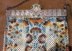 Vintage Mandalain GLORIA Mesh PURSE, Lustro Pearl Enamel on Body & Clasp, Lined