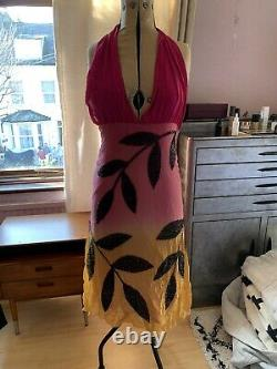 Vintage Matthew Williamson Dress Main Line Pink Beaded Halter Style Authentic