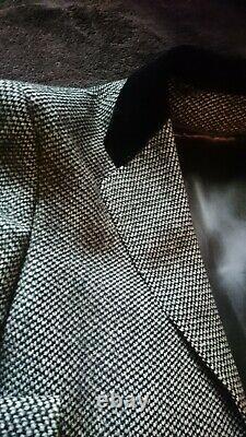 Vintage Men's Wool Dress Coat Overcoat Velvet Collar CoverSlim Medium Part Lined