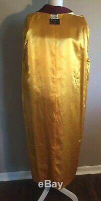 Vintage Mens Mallinson Smoking Robe Lounge Medium Tassels Classy Gold Lined