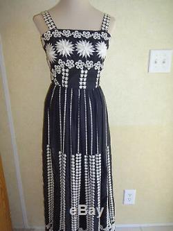 Vintage Miss Elliette Maxi Dress Black White 1970s XS Long Flowers Lined