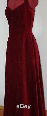 Vintage Monsoon Full Skirted Halter-neck Red Velvet Dress Fully Lined Size 14