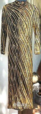 Vintage Ms BOB MACKIE BOUTIQUE Hand BEADED Gold & Black Sequin Long DRESS Sz 4