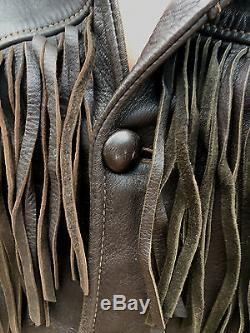 Vintage NOS 50's Western Thick Deerskin Leather Custom Fringe Wool Lined Jacket