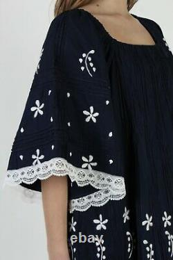 Vintage Navy Mexican Dress Embroidered Bell Sleeve Lace Pintuck Tent A Line Maxi