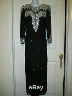 Vintage Nite Line Sequined Beaded Black Sheath Prom Cocktail Dress Size 6 Petite