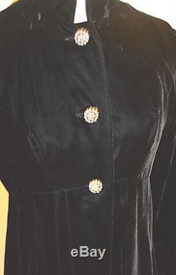 Vintage Opera Coat Black Velvet 3 Rhinestone Button Lined Long Small