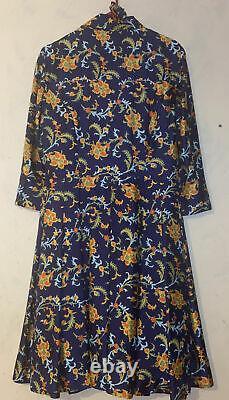 Vintage Oscar De La Renta Floral Lined Belted Silk Dress Pleated Dress M