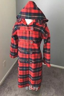 Vintage PENDLETON Womens Red Plaid Wool Hooded Lined Jacket Flannel Coat XS/S