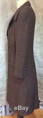 Vintage PIERRE CARDIN PARIS WOOL Dress Coat Cocoa Brown TWEED Double-Breasted M