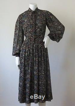 Vintage Pauline Trigere Silk Lined Cotton Dress with Poet Sleeves & Paisley Print
