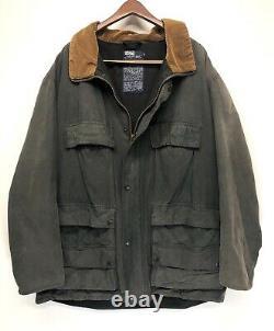 Vintage Polo Ralph Lauren Mens Large Barn Coat Oil Cloth Waxed Chore Jacket