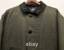 Vintage Polo Ralph Lauren Mens XL Waxed Oil Cloth Hunting Coat Plaid Lined