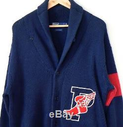 Vintage Polo Ralph Lauren P-Wing Cardigan Stadium Red Line Knit Crest Navy Sz M