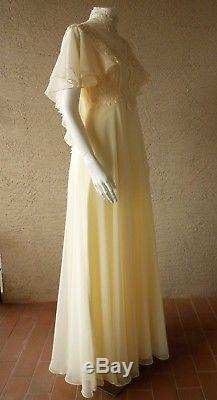 Vintage Prairie Victorian Wedding Gown Size 10 Size 8 Ivory A-Line Cape Sleeves
