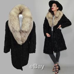Vintage Princess Curly Persian Lamb Fur A-Line Coat XXL Artic Fox Collar Parka M