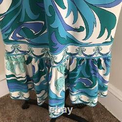 Vintage Pucci Dress 100% silk Sundress A-Line Ruffle Floral Spaghetti Straps M
