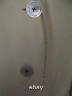 Vintage Pure Virgin Cashmere Womens LARGE Ivory Winter Dress Coat Silk Lined L