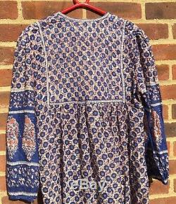 Vintage Quilted Indian Block Print Gauzy Dress Golden Line M Boho Hippy India