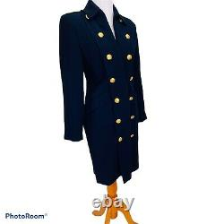 Vintage Ralph Lauren Military Jacket Dress Navy Wool Gold Crested Buttons 4P USA