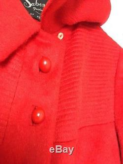 Vintage Red 1950s/1960s Mohair Wool Swing Satin Lined Winter Coat Size AU14-16