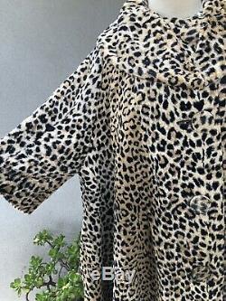 Vintage Retro Swing Coat Leopard Print Lined Pockets Sz M/L