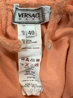 Vintage S/S 1995 Gianni Versace Mare Coral Pink Terry A-Line Skater Mini Dress