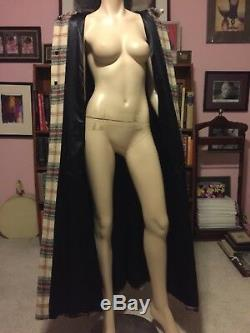 Vintage SCOTTISH TARTAN WOOL CAPE CLOAK CLAN THOMPSON Full Length Satin Lined