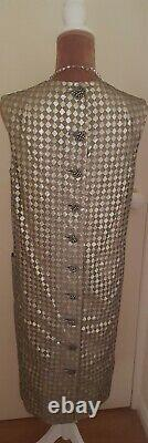 Vintage Saks Fifth Avenue Ladies Dress Silver Gold Lined Size 12/14 Stunning VGC