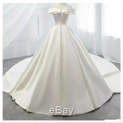 Vintage Satin Off Shoulder White/Ivory Wedding Dress A Line Lace-up Bridal Gown