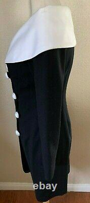 Vintage Scaasi Sheath Dress Size 2 Black/White 100% Wool Polyester Full Lining