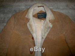 Vintage Schott Bros NYC Rancher Suede Sherpa Lined Men's Western Jacket Coat 42