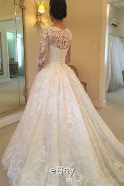 Vintage Scoop Neck A Line Lace Wedding Dress Button Back Appliques Bridal Gown