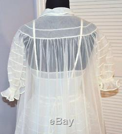 Vintage Shadow Line bridal white 2 piece nylonextravagant lingerie peignoir set