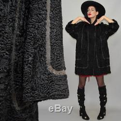 Vintage Shearing Persian Lamb Fur Leather Art Deco A-Line Tent Flared Coat Cape