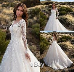 Vintage Sheer V Neck Long Sleeves Wedding Dress Lace Tulle A Line Bridal Gown