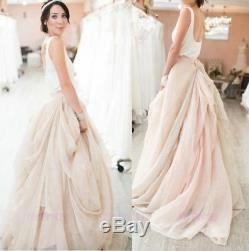 Vintage Silk Chiffon Short Train Wedding Skirt 2 Pieces Bridal Gown