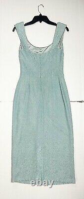 Vintage St. John Evening Blue Sheath Knit Scoop Neck Sleeveless Midi Dress Size 6