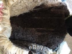 Vintage Suede Leather Coat trimmed in long sheep wool lined in sheep wool M/L