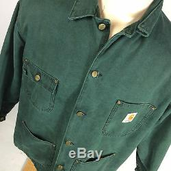 Vintage USA Made Green Denim Canvas Acid Marble Wash Blanket Lined Coat Jacket L