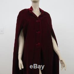 Vintage Velvet Cloak Cape Burgundy Opera Coat Silk Lined
