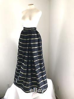 Vintage Victor Costa Black And Gold Taffeta Crinoline Lined Full Length Skirt 8